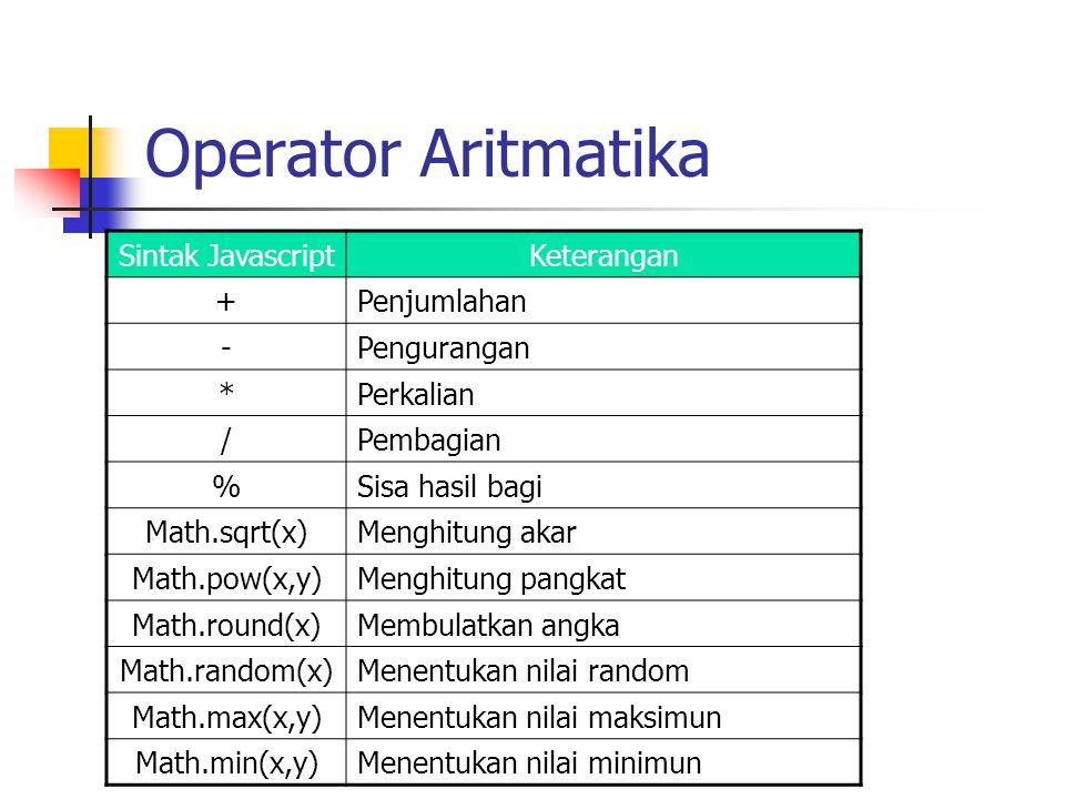 Operator Aritmatika Sintak Javascript Keterangan + Penjumlahan -