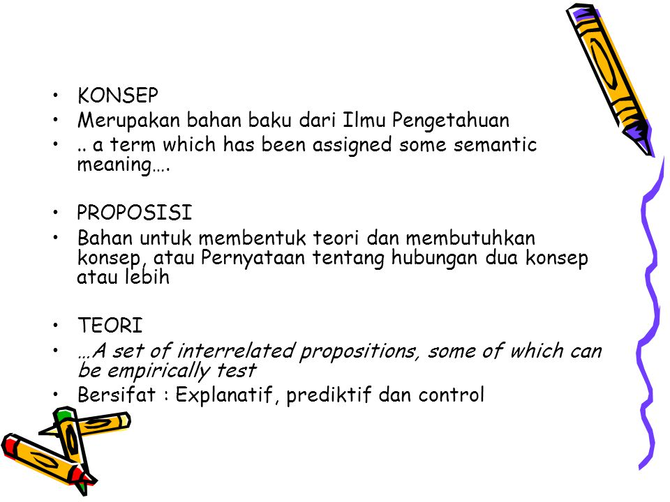 KONSEP Merupakan bahan baku dari Ilmu Pengetahuan. .. a term which has been assigned some semantic meaning….