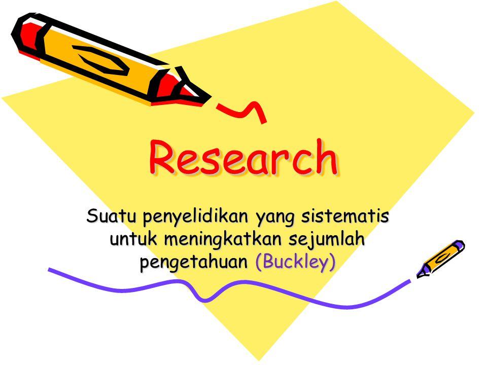 Research Suatu penyelidikan yang sistematis untuk meningkatkan sejumlah pengetahuan (Buckley)