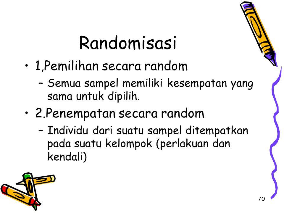 Randomisasi 1,Pemilihan secara random 2.Penempatan secara random