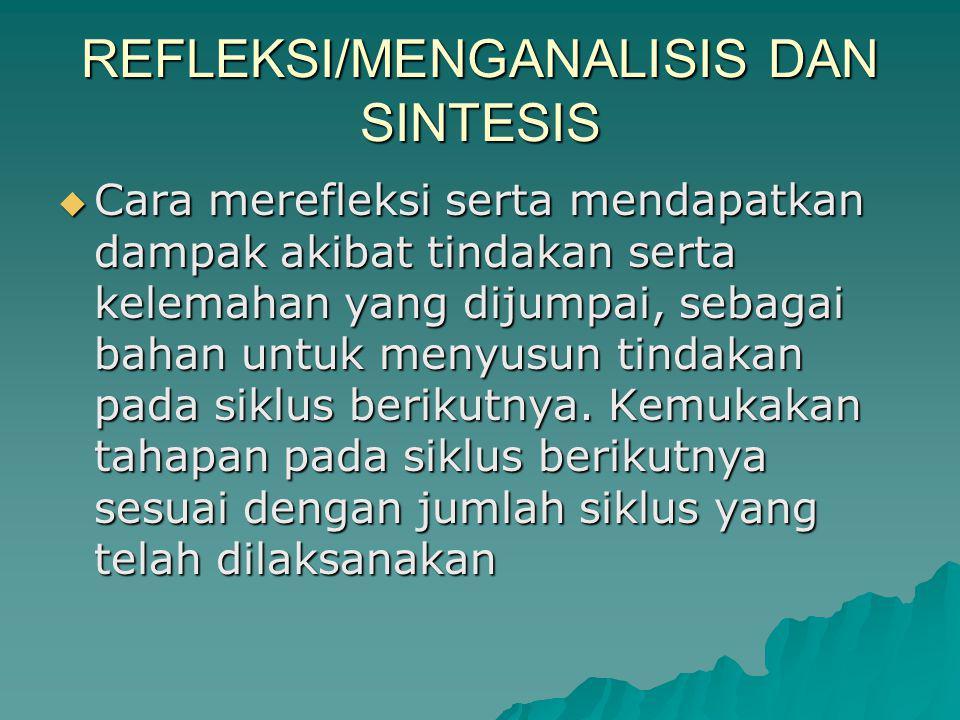 REFLEKSI/MENGANALISIS DAN SINTESIS