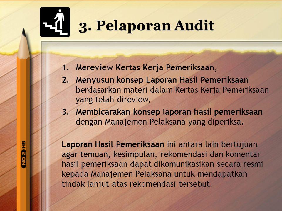3. Pelaporan Audit Mereview Kertas Kerja Pemeriksaan,