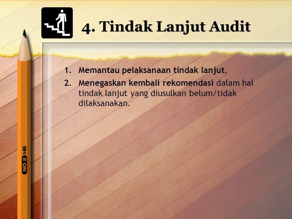 4. Tindak Lanjut Audit Memantau pelaksanaan tindak lanjut,