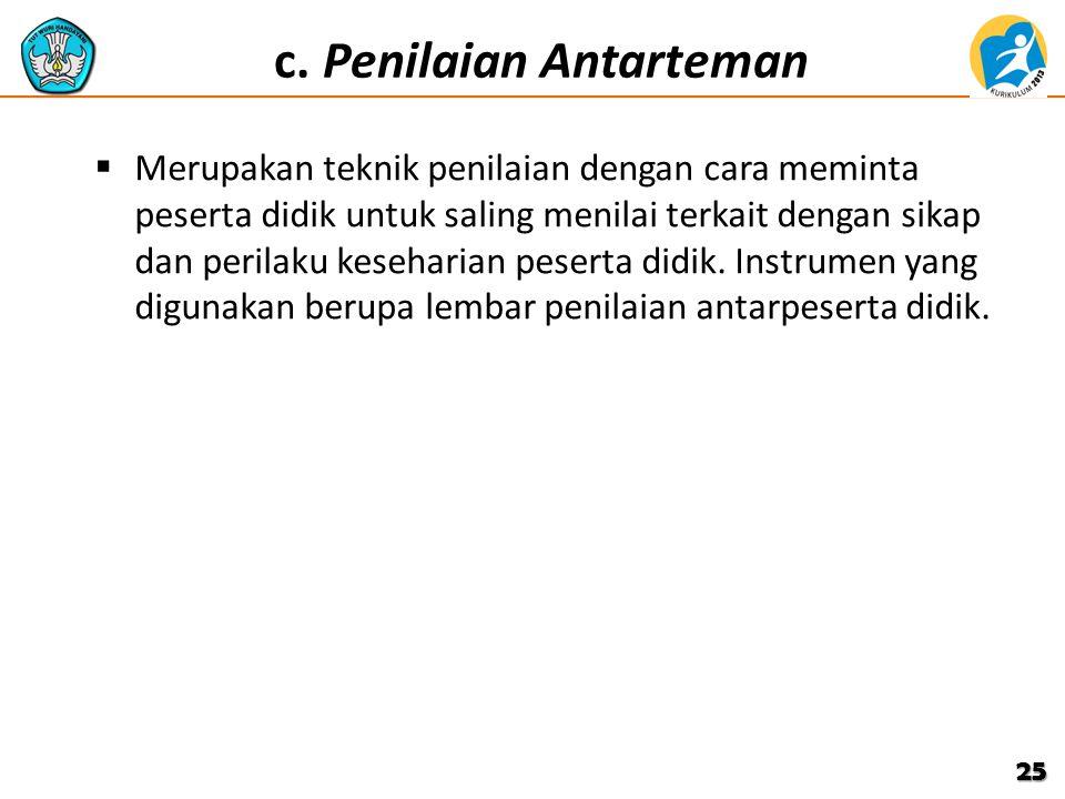 c. Penilaian Antarteman