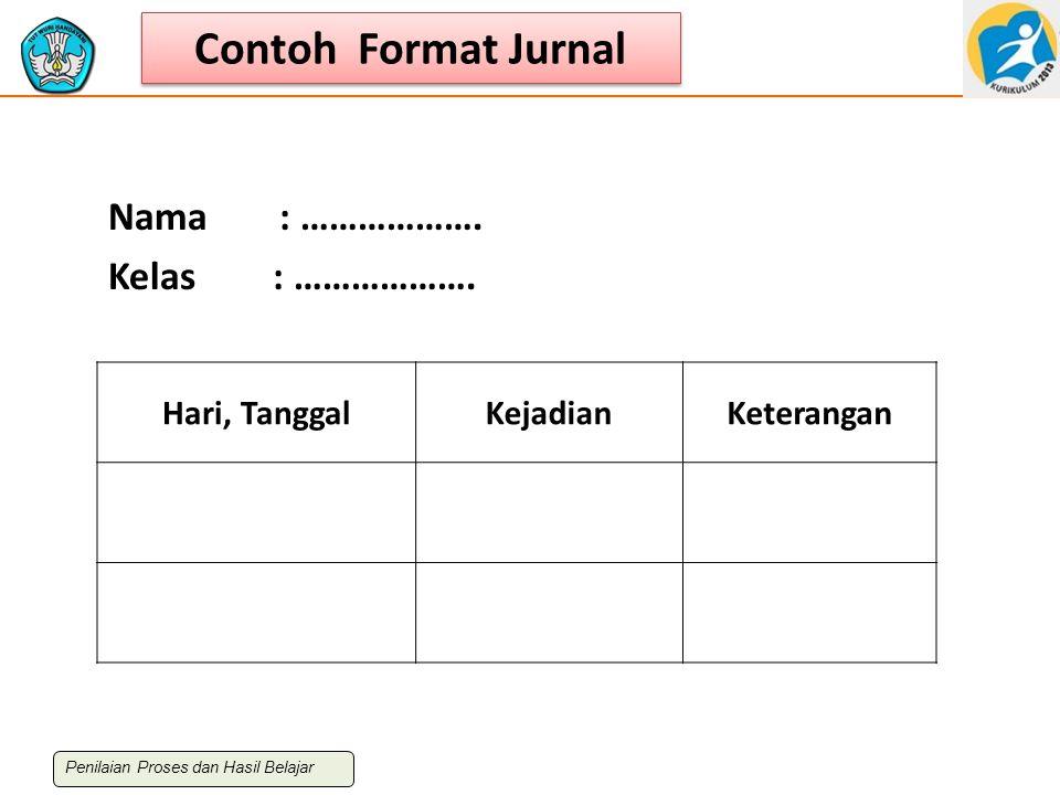 Contoh Format Jurnal Nama : ………………. Kelas : ………………. Hari, Tanggal