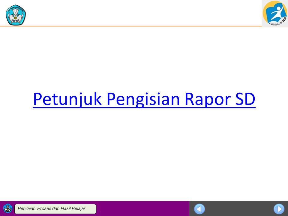 Petunjuk Pengisian Rapor SD
