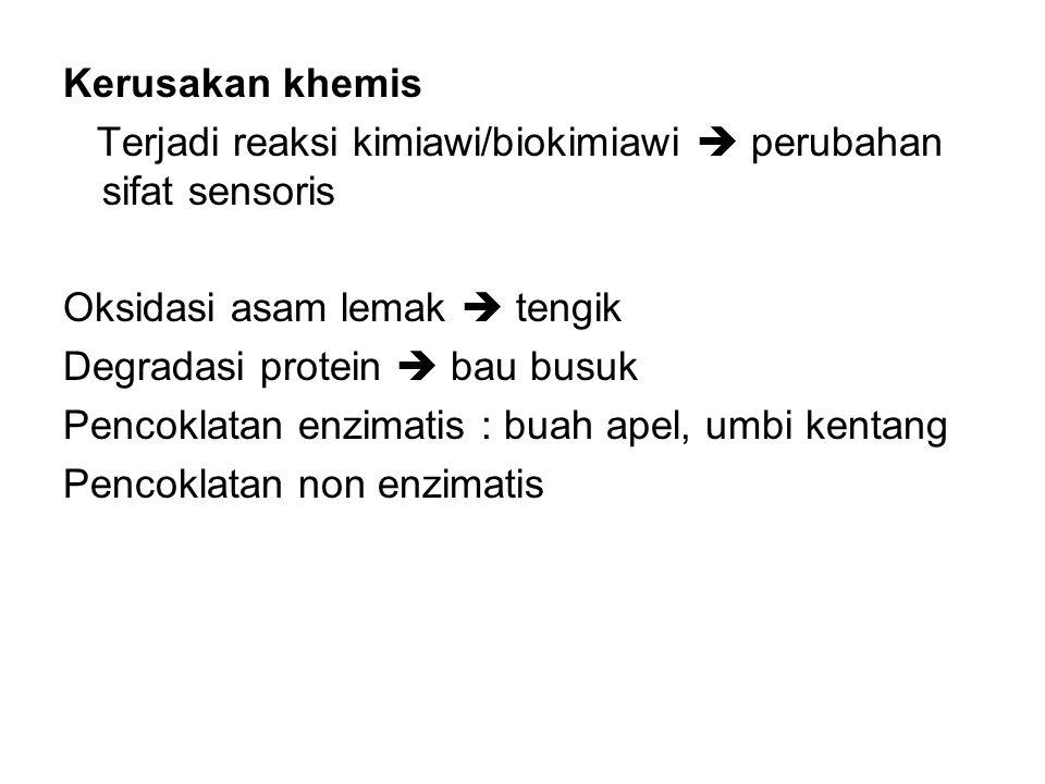 Kerusakan khemis Terjadi reaksi kimiawi/biokimiawi  perubahan sifat sensoris. Oksidasi asam lemak  tengik.