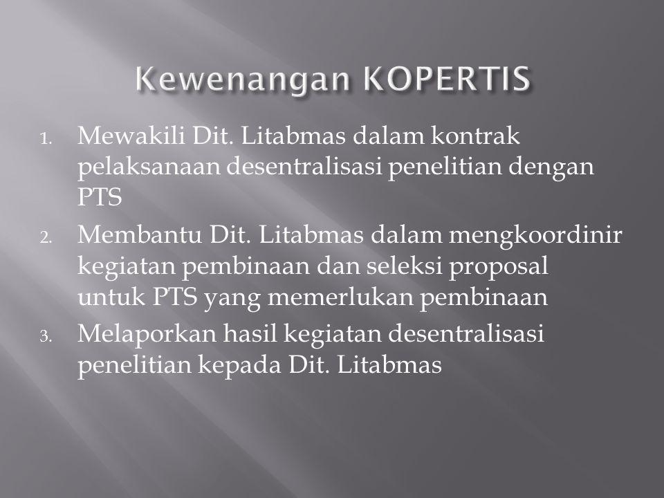 Kewenangan KOPERTIS Mewakili Dit. Litabmas dalam kontrak pelaksanaan desentralisasi penelitian dengan PTS.