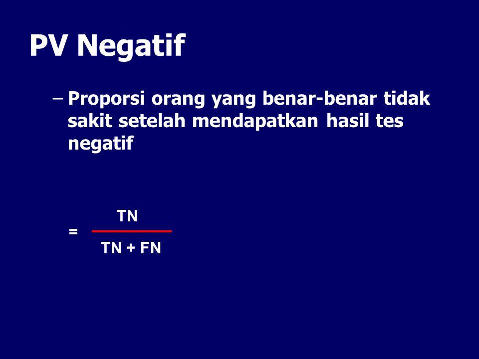PV Negatif Proporsi orang yang benar-benar tidak sakit setelah mendapatkan hasil tes negatif. TN. =