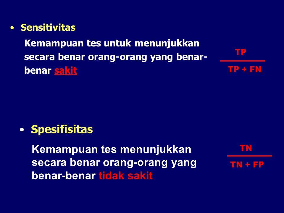 Sensitivitas Kemampuan tes untuk menunjukkan secara benar orang-orang yang benar-benar sakit. TP. TP + FN.