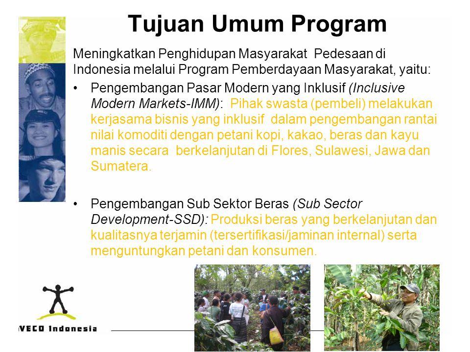 Tujuan Umum Program Meningkatkan Penghidupan Masyarakat Pedesaan di Indonesia melalui Program Pemberdayaan Masyarakat, yaitu: