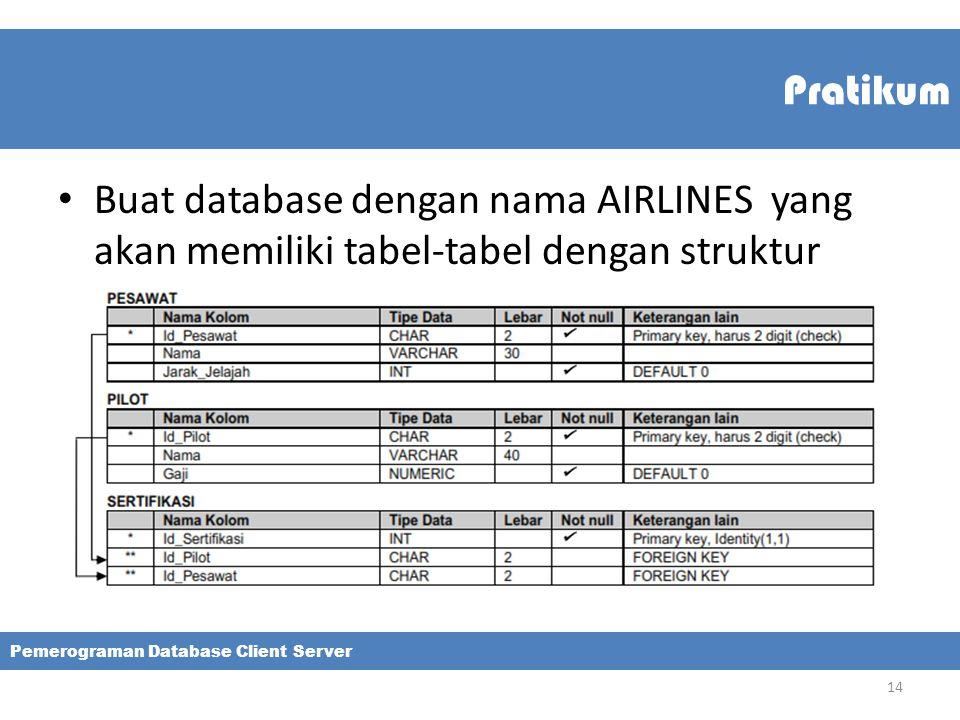 Pratikum Buat database dengan nama AIRLINES yang akan memiliki tabel-tabel dengan struktur.