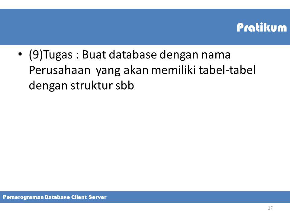 Pratikum (9)Tugas : Buat database dengan nama Perusahaan yang akan memiliki tabel-tabel dengan struktur sbb.