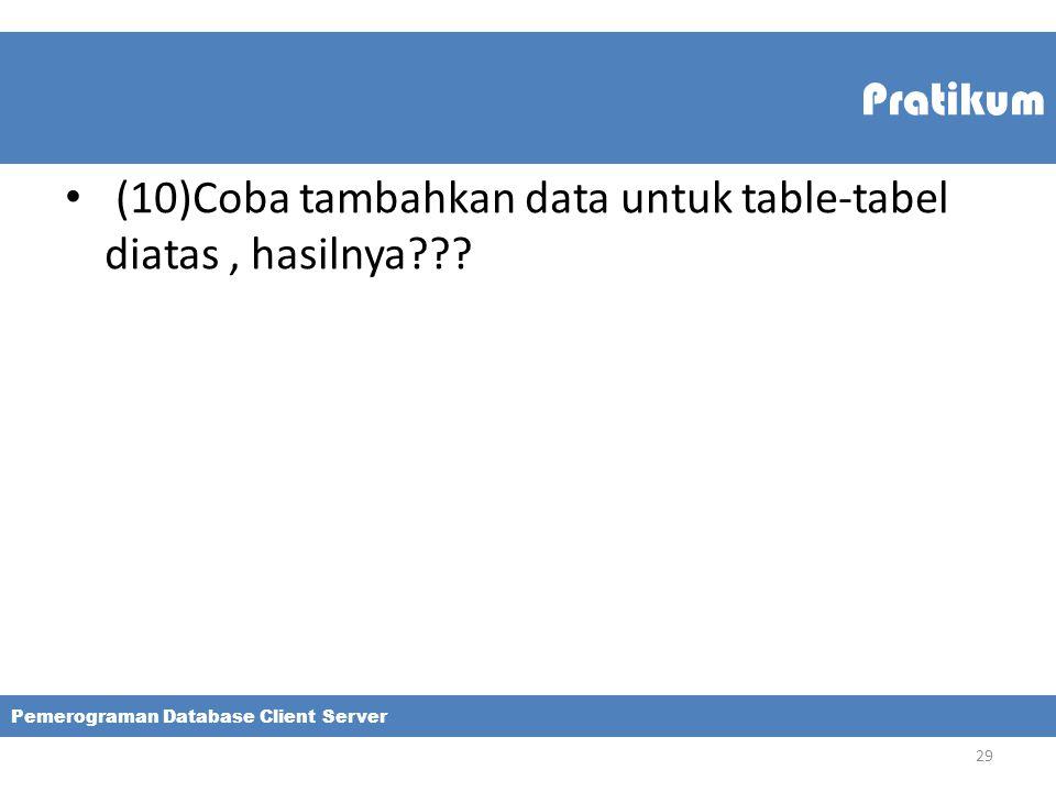 (10)Coba tambahkan data untuk table-tabel diatas , hasilnya