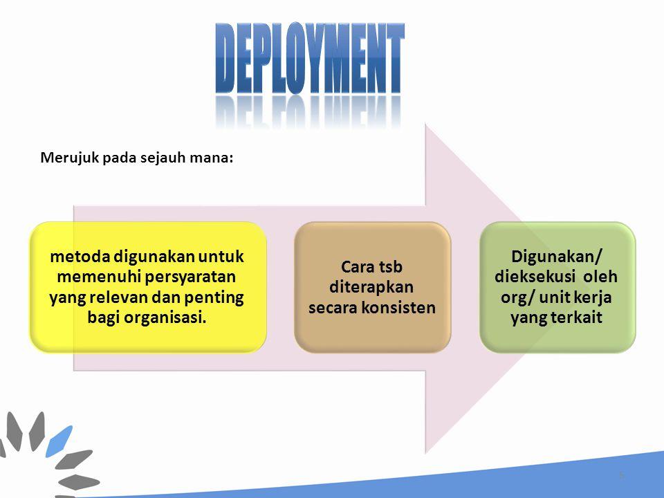 deployment metoda digunakan untuk memenuhi persyaratan yang relevan dan penting bagi organisasi. Cara tsb diterapkan secara konsisten.