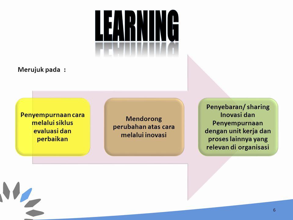 learning Penyempurnaan cara melalui siklus evaluasi dan perbaikan. Mendorong perubahan atas cara melalui inovasi.