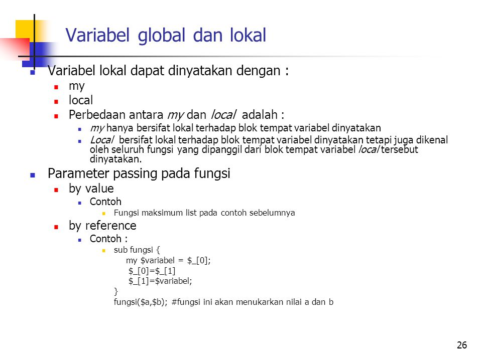 Variabel global dan lokal