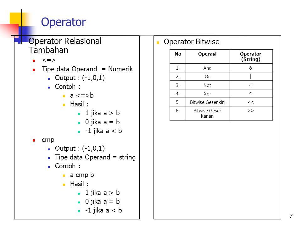 Operator Operator Relasional Tambahan Operator Bitwise <=>