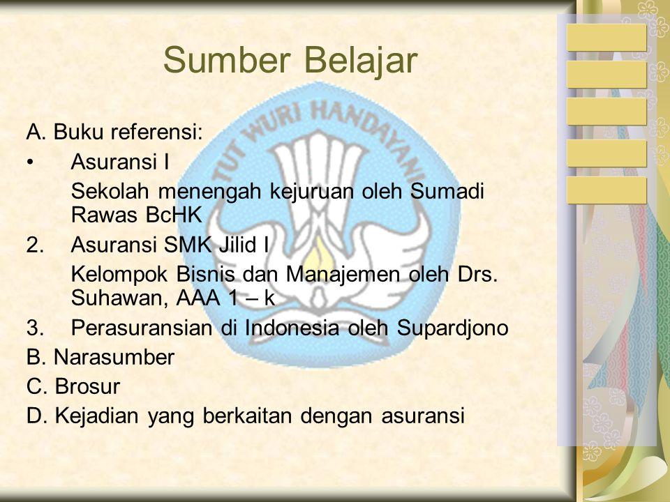 Sumber Belajar A. Buku referensi: Asuransi I