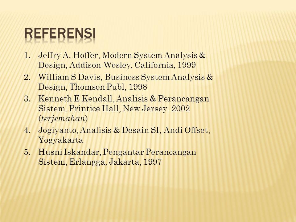 REFERENSI Jeffry A. Hoffer, Modern System Analysis & Design, Addison-Wesley, California, 1999.