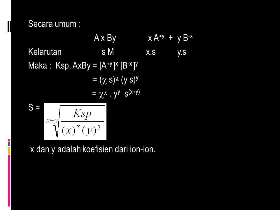Secara umum : A x By x A+y + y B-x Kelarutan s M x. s y. s Maka : Ksp