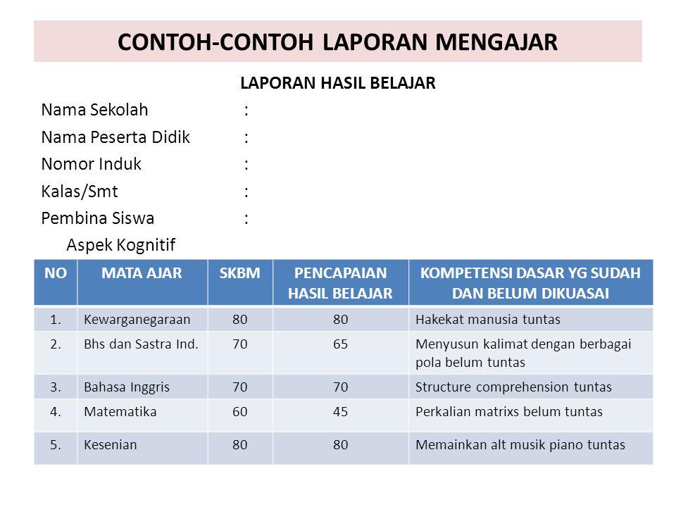 CONTOH-CONTOH LAPORAN MENGAJAR