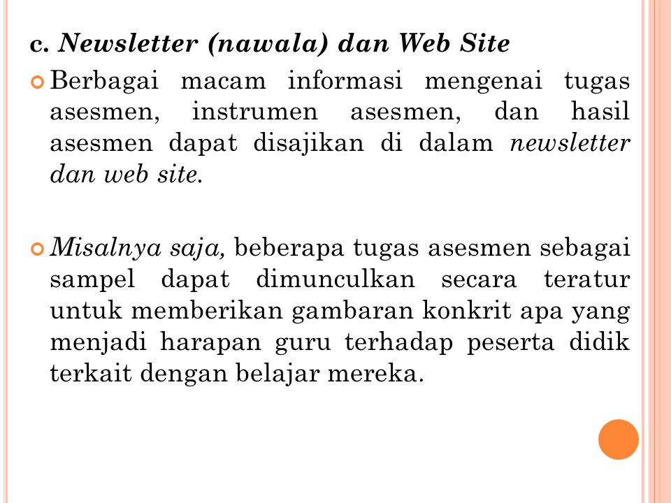 c. Newsletter (nawala) dan Web Site