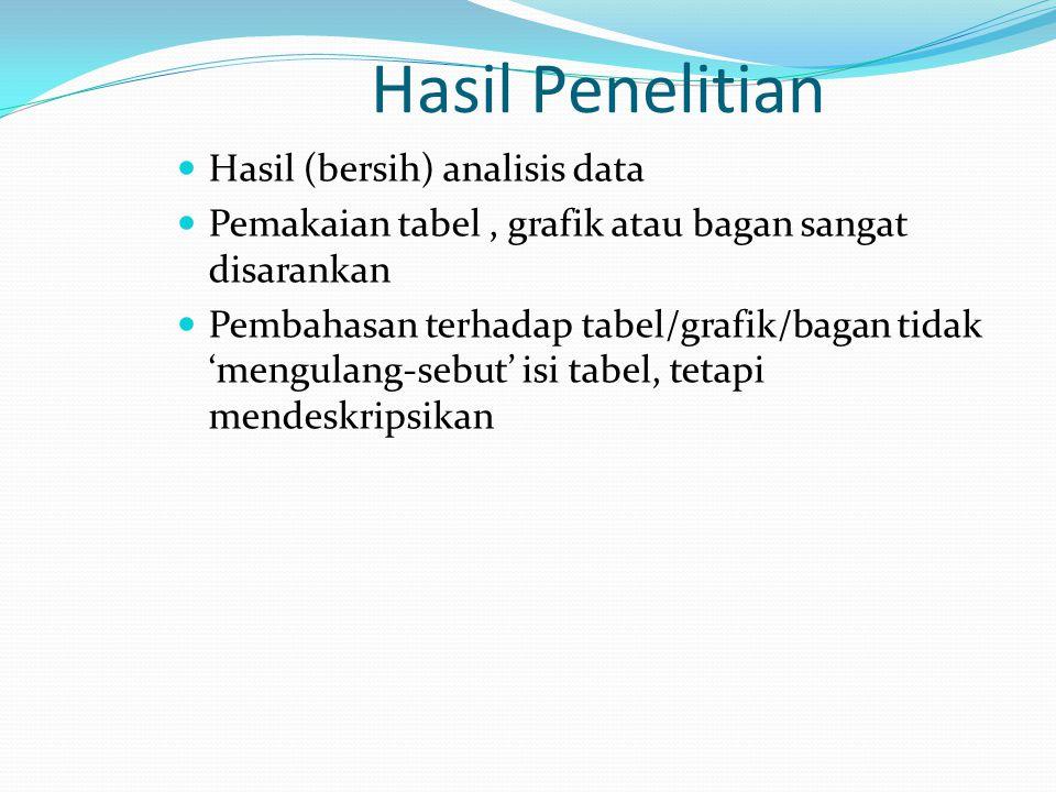 Hasil Penelitian Hasil (bersih) analisis data