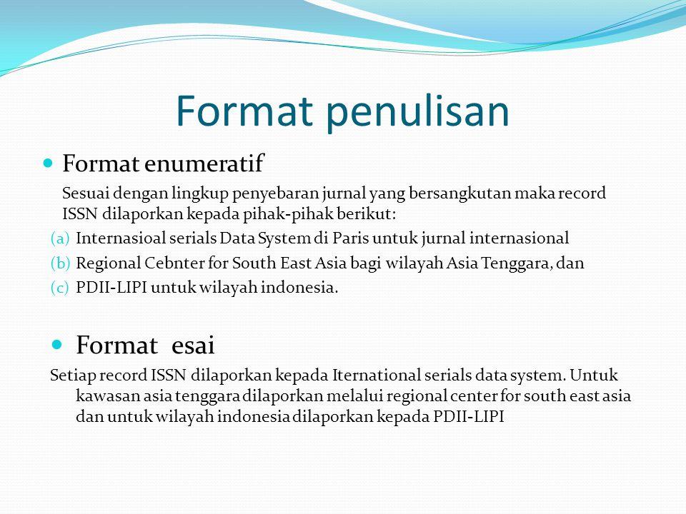 Format penulisan Format esai Format enumeratif