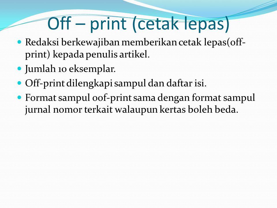 Off – print (cetak lepas)