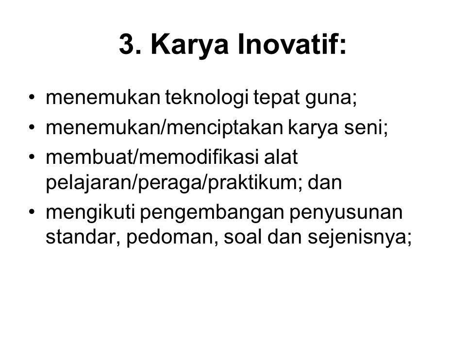 3. Karya Inovatif: menemukan teknologi tepat guna;