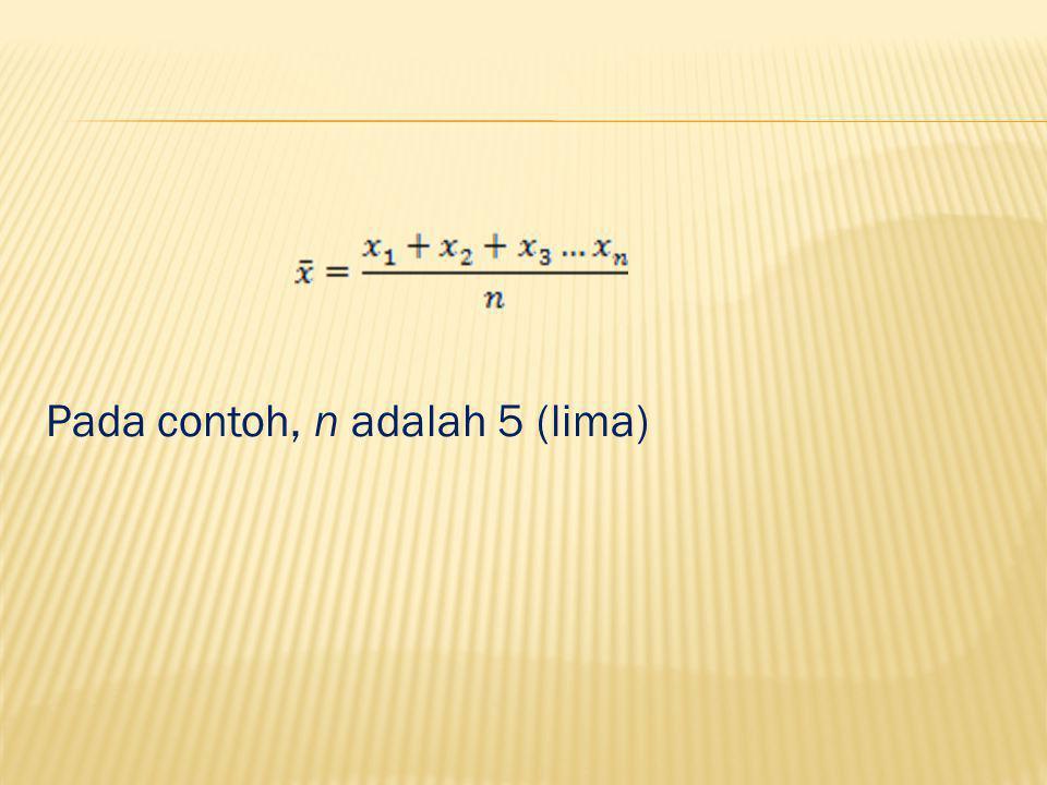 Pada contoh, n adalah 5 (lima)