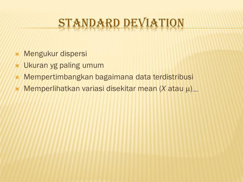 Standard Deviation Mengukur dispersi Ukuran yg paling umum