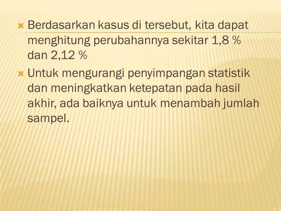 Berdasarkan kasus di tersebut, kita dapat menghitung perubahannya sekitar 1,8 % dan 2,12 %