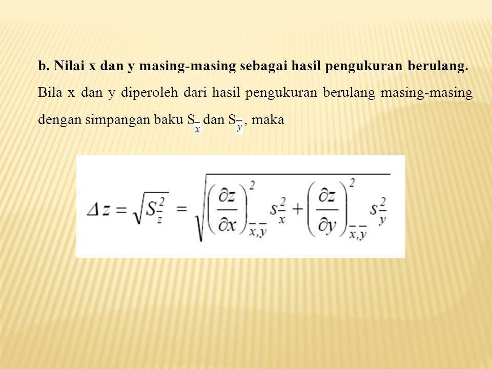 b. Nilai x dan y masing-masing sebagai hasil pengukuran berulang.