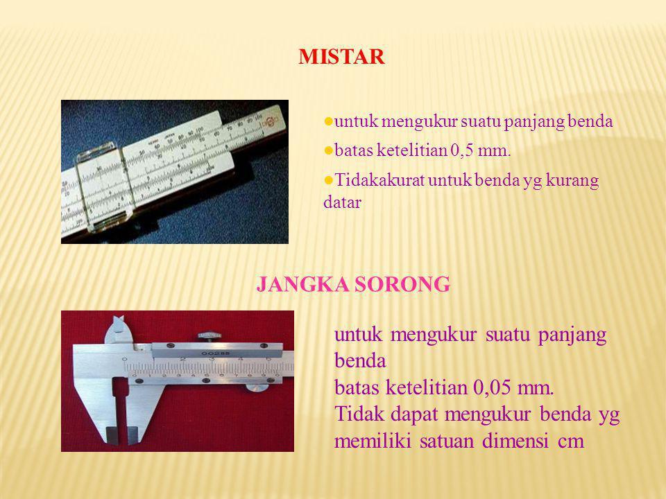 untuk mengukur suatu panjang benda batas ketelitian 0,05 mm.