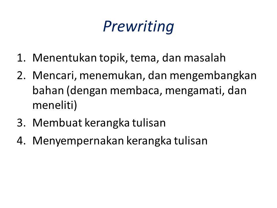 Prewriting Menentukan topik, tema, dan masalah