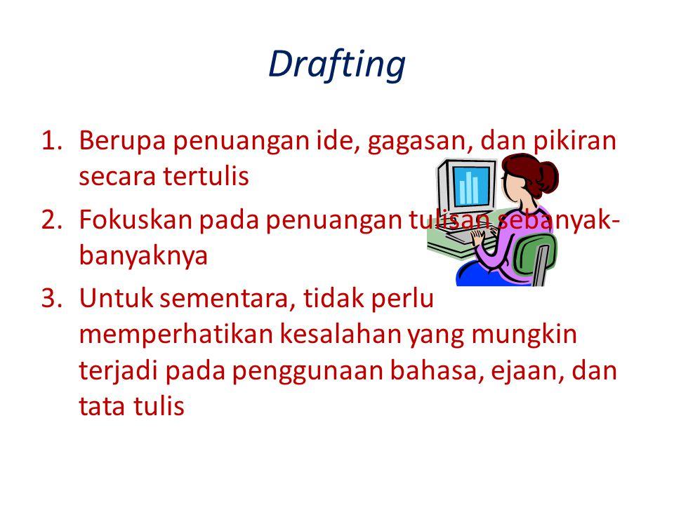 Drafting Berupa penuangan ide, gagasan, dan pikiran secara tertulis