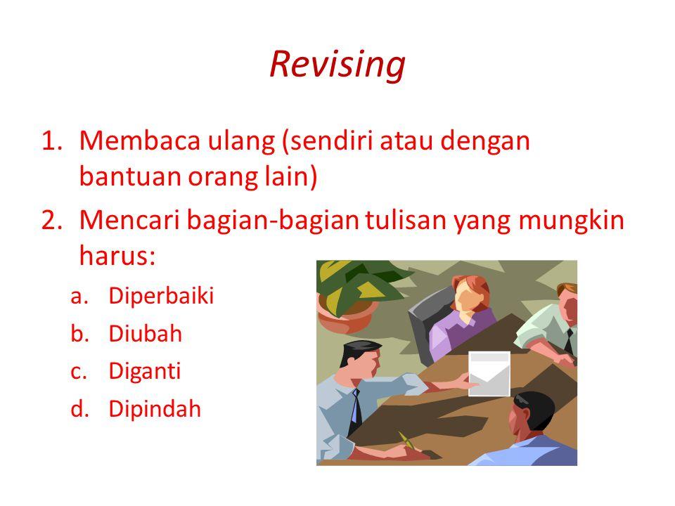 Revising Membaca ulang (sendiri atau dengan bantuan orang lain)