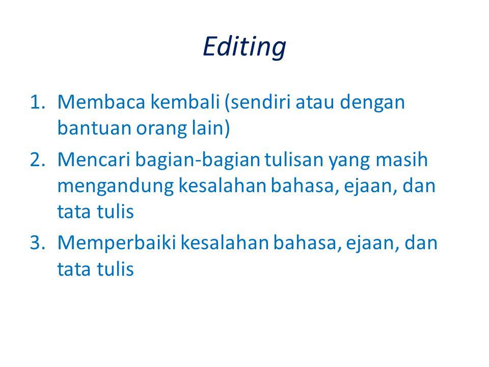 Editing Membaca kembali (sendiri atau dengan bantuan orang lain)