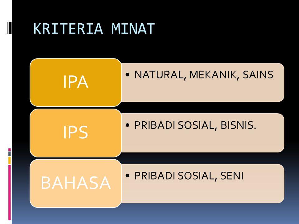 KRITERIA MINAT IPA NATURAL, MEKANIK, SAINS IPS PRIBADI SOSIAL, BISNIS.