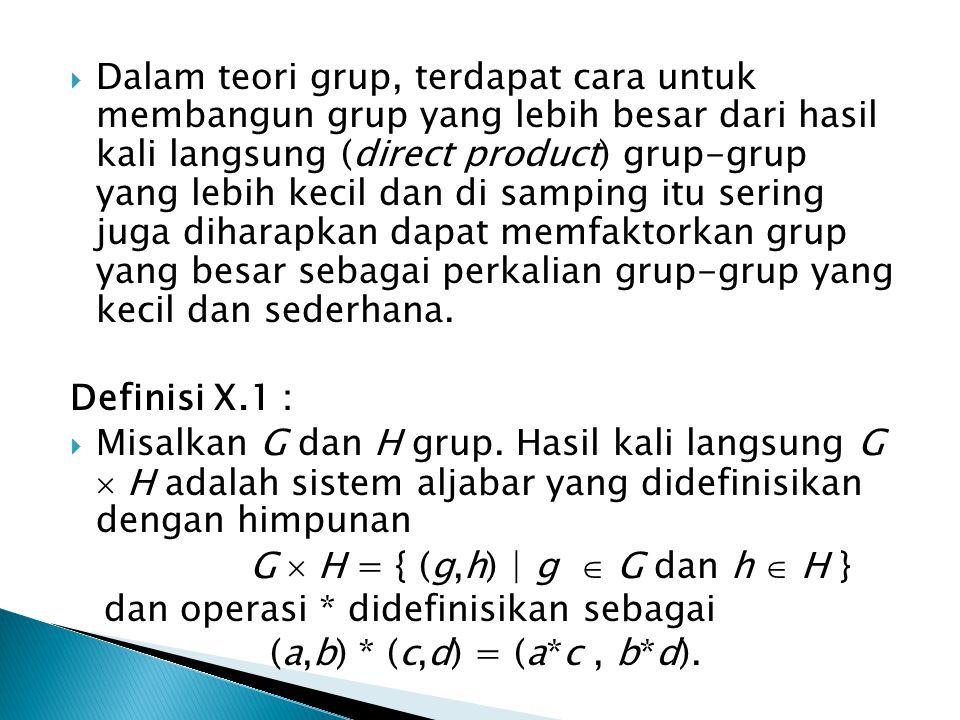Dalam teori grup, terdapat cara untuk membangun grup yang lebih besar dari hasil kali langsung (direct product) grup-grup yang lebih kecil dan di samping itu sering juga diharapkan dapat memfaktorkan grup yang besar sebagai perkalian grup-grup yang kecil dan sederhana.