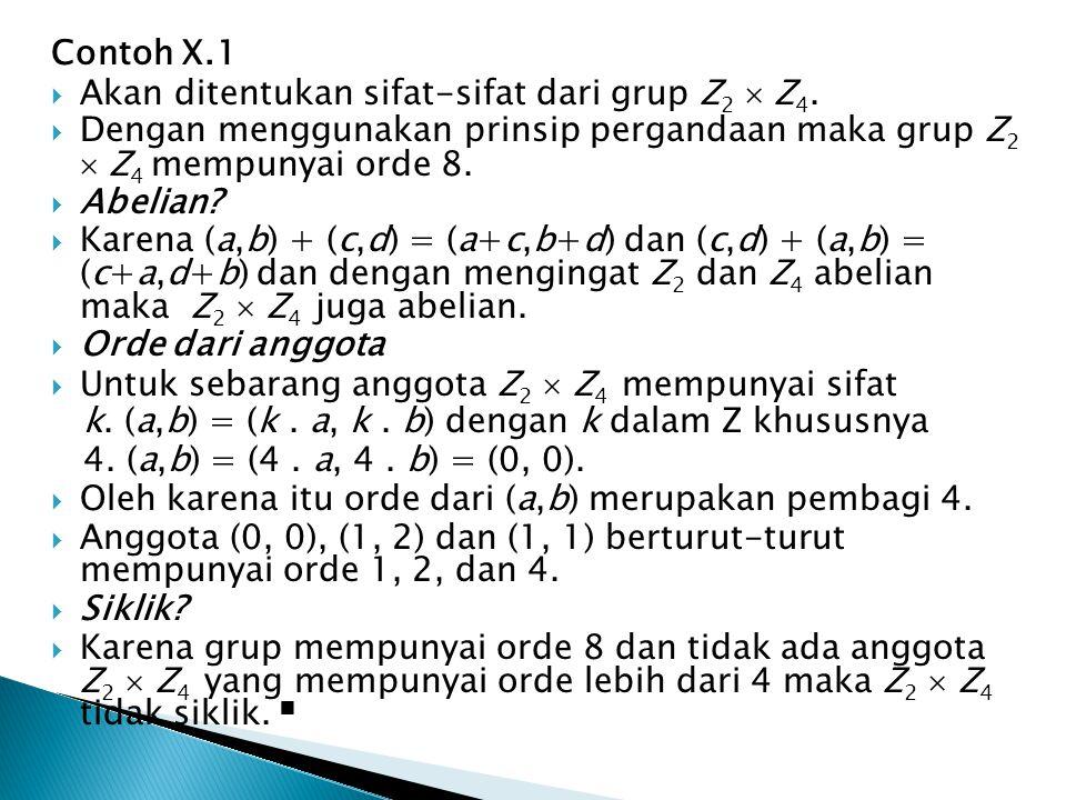 Contoh X.1 Akan ditentukan sifat-sifat dari grup Z2  Z4. Dengan menggunakan prinsip pergandaan maka grup Z2  Z4 mempunyai orde 8.