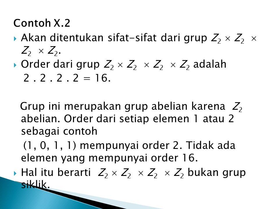 Contoh X.2 Akan ditentukan sifat-sifat dari grup Z2  Z2  Z2  Z2. Order dari grup Z2  Z2  Z2  Z2 adalah.