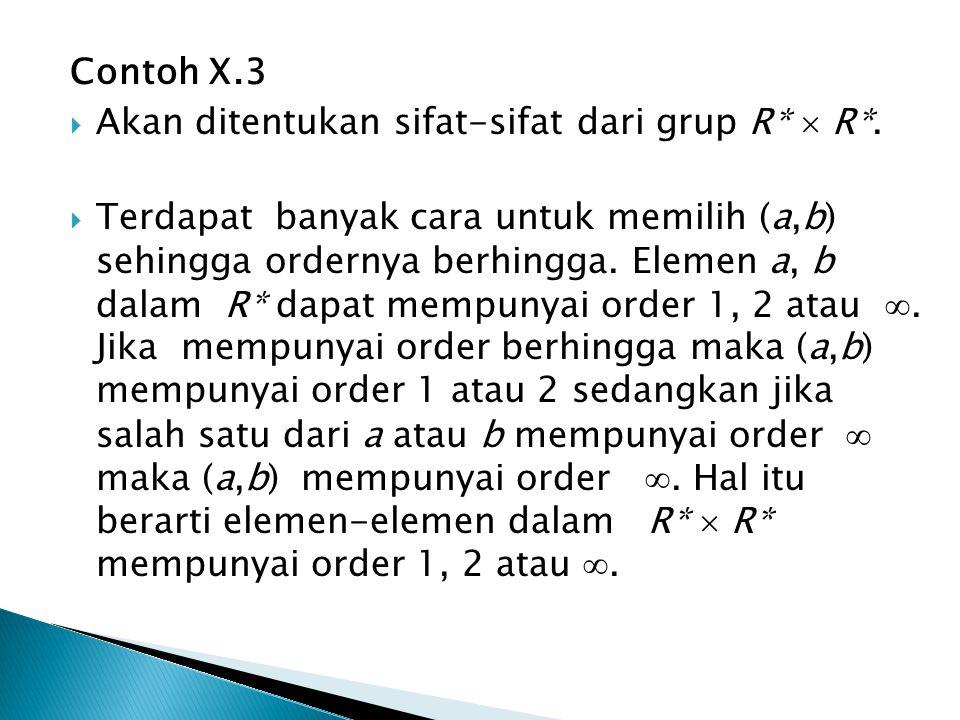 Contoh X.3 Akan ditentukan sifat-sifat dari grup R*  R*.