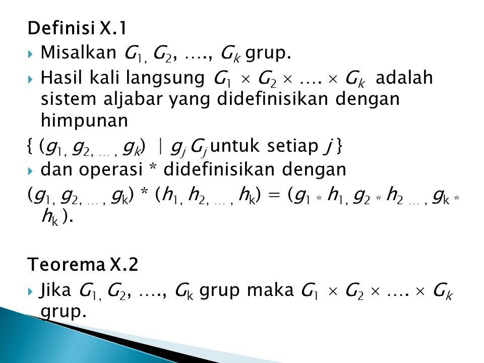 Definisi X.1 Misalkan G1, G2, …., Gk grup. Hasil kali langsung G1  G2  ….  Gk adalah sistem aljabar yang didefinisikan dengan himpunan.