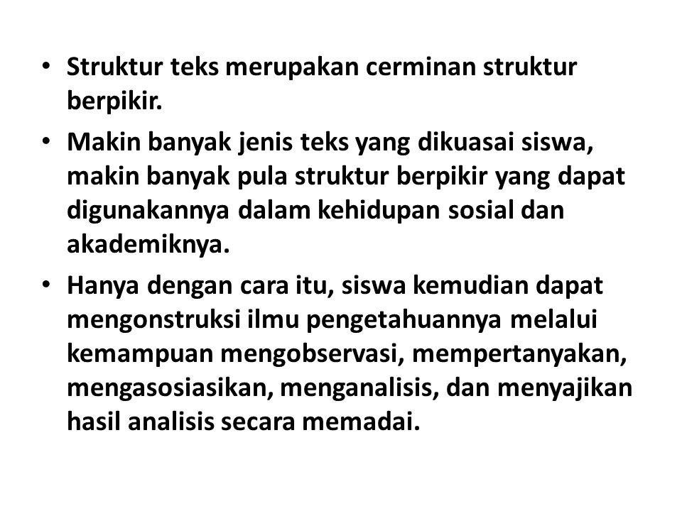 Struktur teks merupakan cerminan struktur berpikir.