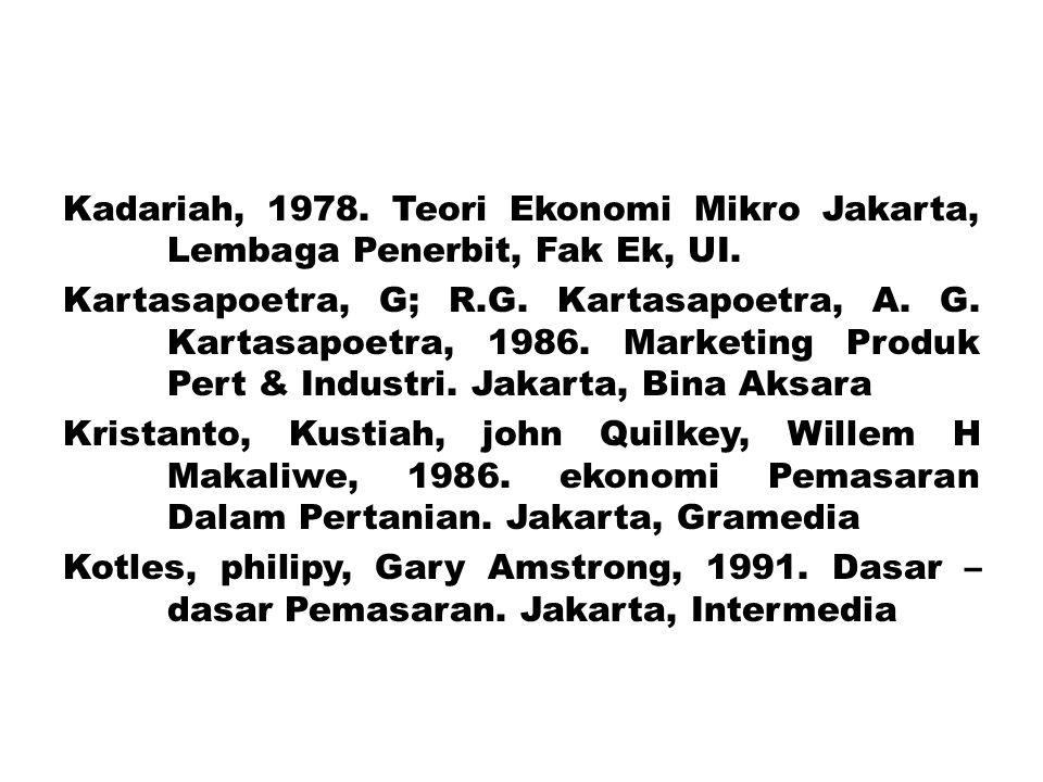Kadariah, 1978. Teori Ekonomi Mikro Jakarta, Lembaga Penerbit, Fak Ek, UI.