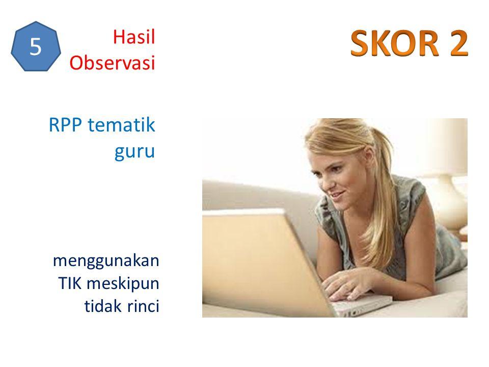 SKOR 2 5 Hasil Observasi RPP tematik guru