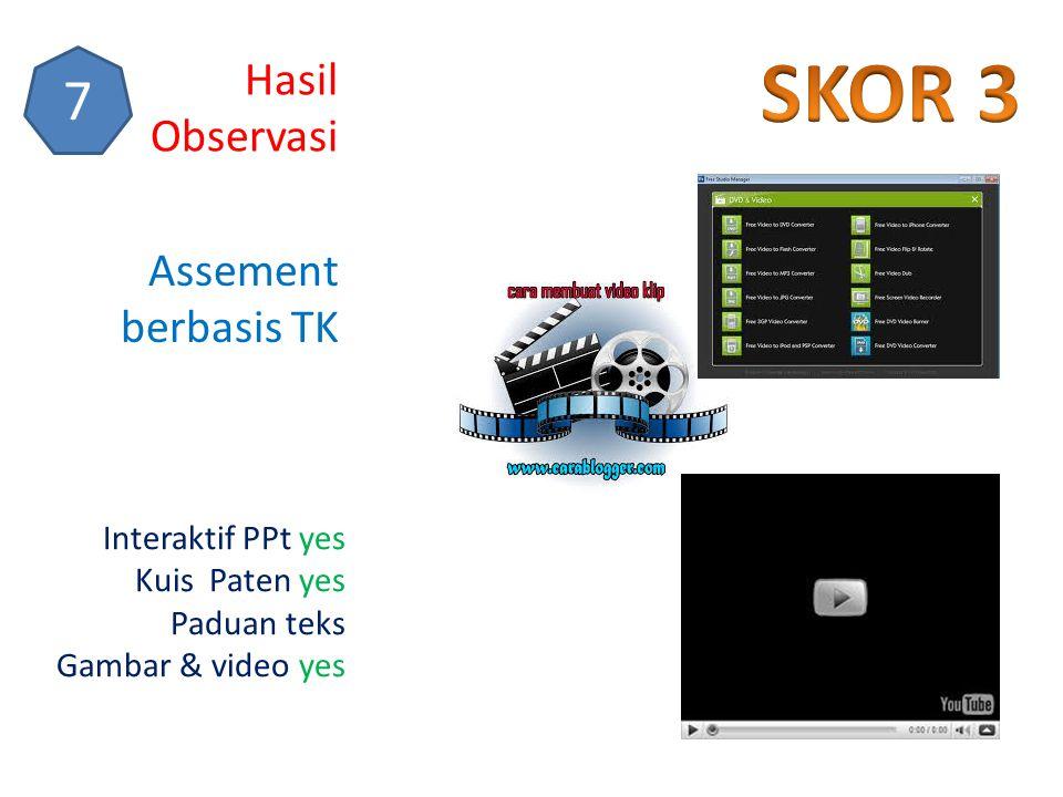 SKOR 3 7 Hasil Observasi Assement berbasis TK Interaktif PPt yes
